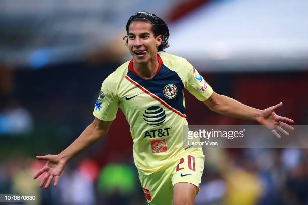 Diego Lainez of America celebrates after scoring the 5th goal of his team during the semifinal second leg match between America and Pumas UNAM as...