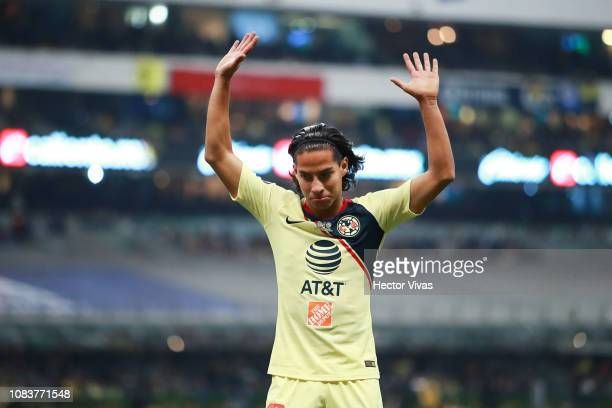 Diego Lainez of America gestures during the final second leg match between Cruz Azul and America as part of the Torneo Apertura 2018 Liga MX at...