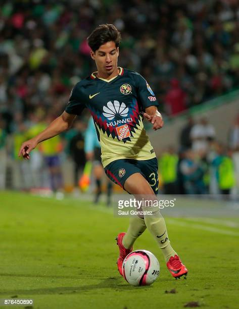 Diego Lainez of America of America plays the ball during the 17th round match between Santos Laguna and America as part of the Torneo Apertura 2017...