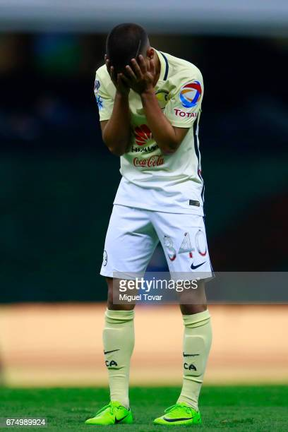 Diego Lainez of America reacts during the 16th round match between America and Atlas as part of the Torneo Clausura 2017 Liga MX at Azteca Stadium on...