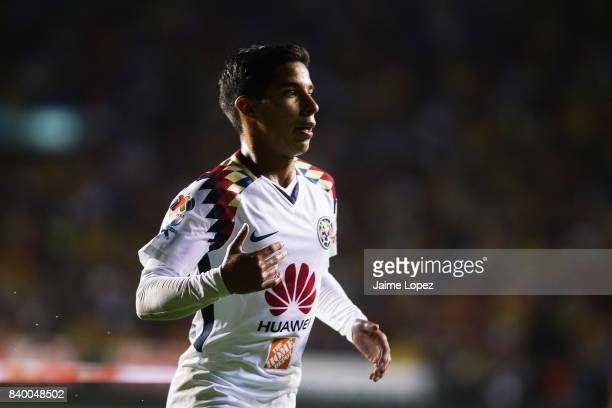 Diego Lainez of America runs in the field during the seventh round match between Morelia and America as part of the Torneo Apertura 2017 Liga MX at...