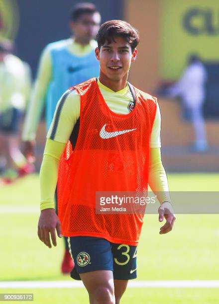 Diego Lainez of America smiles during a training session prior to the first Torneo Clausura 2018 match at Coapa on January 03 in Mexico City Mexico
