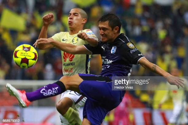 Diego Lainez of America struggles for the ball with Neri Cardozo of Queretaro during the 14th round match between America and Queretaro as part of...
