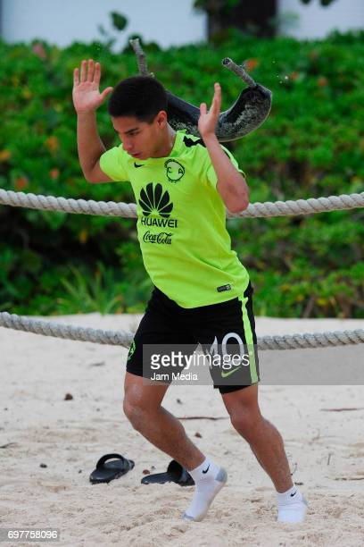 Diego Lainez of America trains in the sand during the Pre Season training for the Torneo Apertura 2017 Liga MX at Playa del Carmen Beach on June 19...