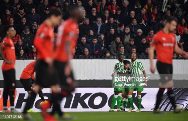 Diego Lainez of Betis celebrates scoring the third goal during the UEFA Europa League Round of 32 First Leg match between Stade Rennais and Real...