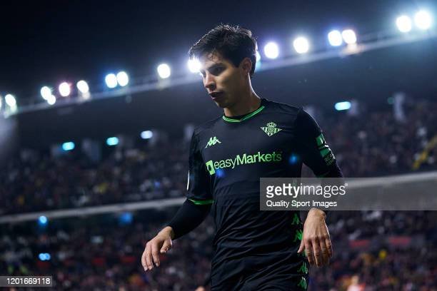 Diego Lainez of Betis looks on during the Copa del Rey round of 32 match between Rayo Vallecano and Betis at stadium of Vallecas on January 23, 2020...
