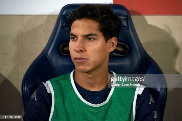 Diego Lainez of Betis looks on prior to the Liga match between Villarreal CF and Real Betis Balompie at Estadio de la Ceramica on September 27 2019...