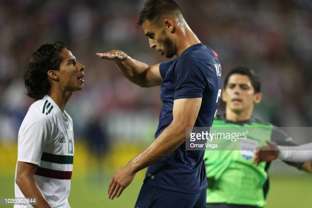 Diego Lainez of Mexico and Matt Miazga of the United States argue during an international friendly match between Mexico and United States at Nissan...