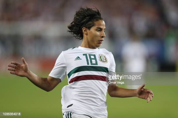Diego Lainez of Mexico controls the ball during an international friendly match between Mexico and United States at Nissan Stadium on September 11...