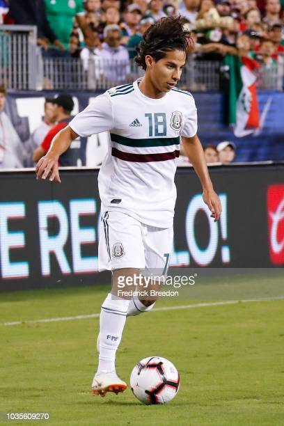 Diego Lainez of Mexico plays against of the USA in a friendly match at Nissan Stadium on September 11 2018 in Nashville Tennessee