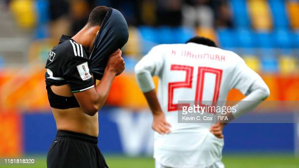 Diego Lainez of Mexico shows his dejection at the end of the 2019 FIFA U20 World Cup group B match between Mexico and Japan at Gdynia Stadium on May...