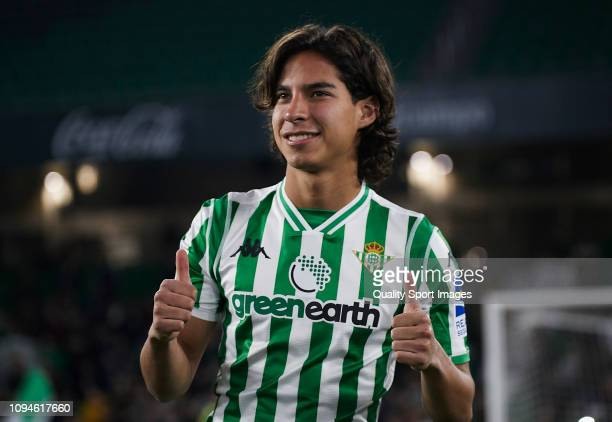 Diego Lainez of Real Betis Balompie during his unveiling at Estadio Benito Villamarin on January 15 2019 in Seville Spain