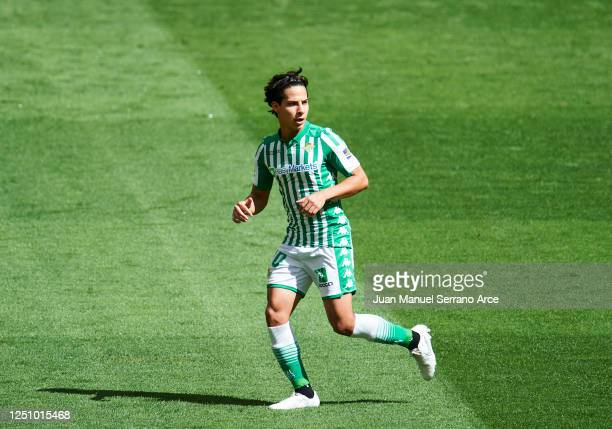 Diego Lainez of Real Betis Balompie in action during the Liga match between Athletic Club and Real Betis Balompie at San Mames Stadium on June 20,...