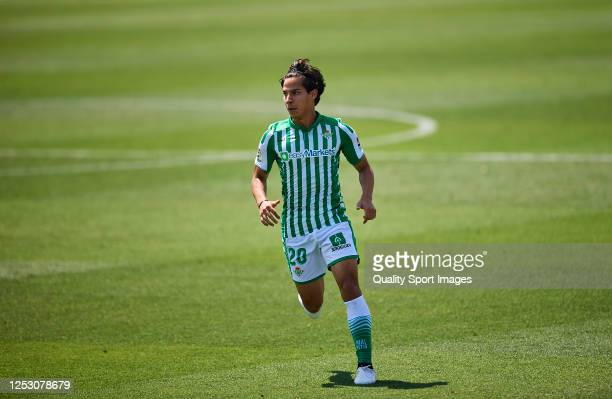 Diego Lainez of Real Betis Balompie in action during the Liga match between Levante UD and Real Betis Balompie at Ciutat Deportiva Camilo Cano on...