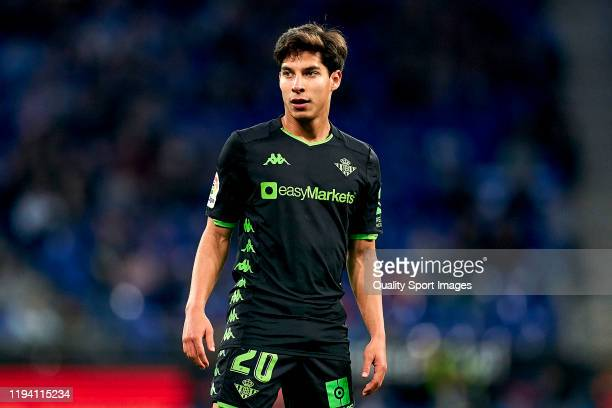 Diego Lainez of Real Betis Balompie looks on during the Liga match between RCD Espanyol and Real Betis Balompie at RCDE Stadium on December 15, 2019...