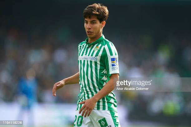Diego Lainez of Real Betis Balompie looks on during the Liga match between Real Betis Balompie and Athletic Club at Estadio Benito Villamarin on...