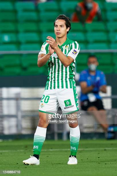 Diego Lainez of Real Betis Balompie looks on during the Liga match between Real Betis Balompie and Granada CF at Estadio Benito Villamarin on June...