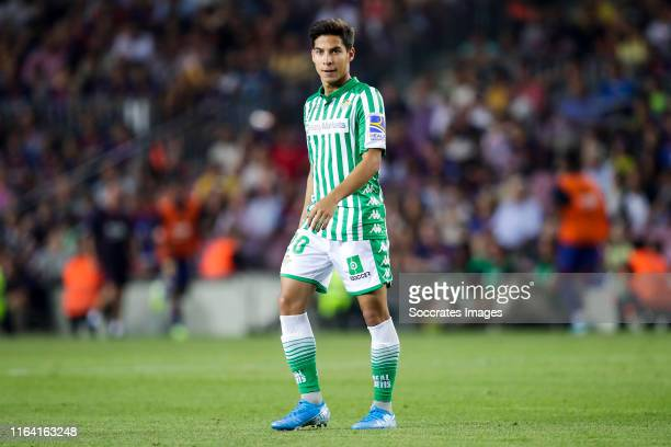 Diego Lainez of Real Betis during the La Liga Santander match between FC Barcelona v Real Betis Sevilla at the Camp Nou on August 25 2019 in...