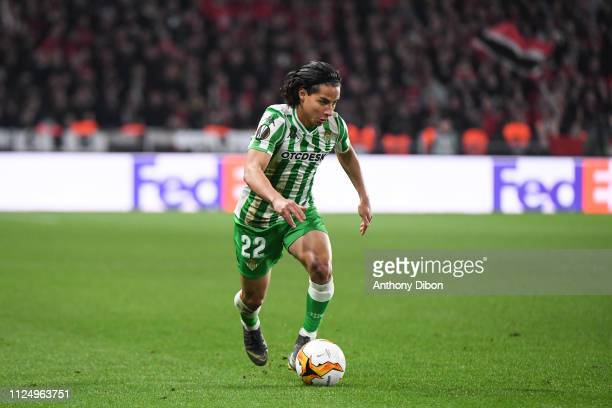 Diego Lainez of Real Betis during the UEFA Europa League Round of 32 First Leg match between Rennes and Real Betis at Roazhon Park on February 14...