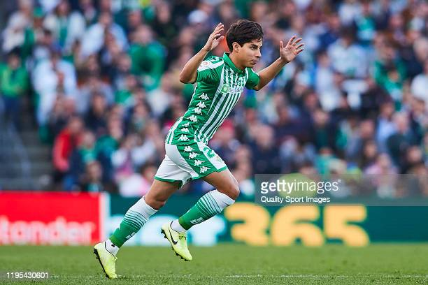 Diego Lainez of Real Betis gestures during the Liga match between Real Betis Balompie and Club Atletico de Madrid at Estadio Benito Villamarin on...