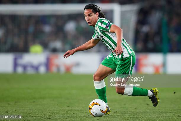 Diego Lainez of Real Betis in action during the UEFA Europa League Round of 32 Second Leg match between Real Betis v Stade Rennais at Estadio Benito...