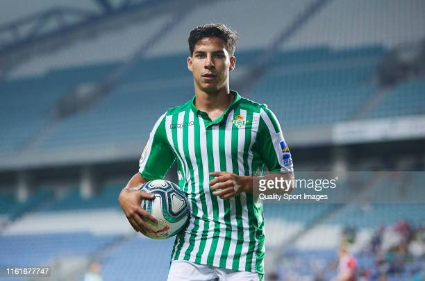 Diego Lainez of Real Betis looks on during a preseason friendly match against Sheffield United at Estadio Algarve on July 12 2019 in Faro Portugal