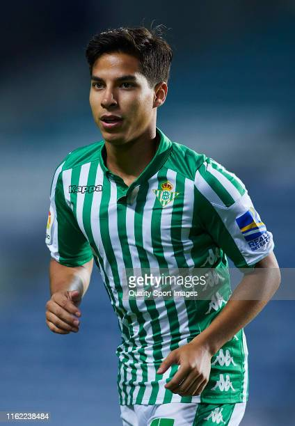 Diego Lainez of Real Betis looks on during a preseason friendly match at Estadio Algarve on July 12 2019 in Faro Portugal