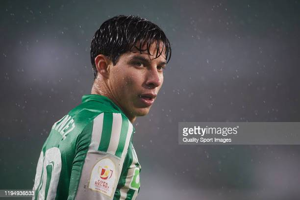 Diego Lainez of Real Betis looks on during the Copa del Rey Second Round match between CA Antoniano and Real Betis at Estadio Benito Villamarin on...