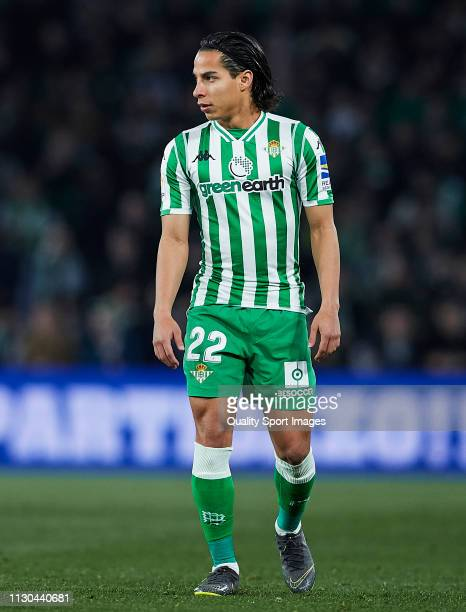 Diego Lainez of Real Betis looks on during the La Liga match between Real Betis Balompie and Deportivo Alaves at Estadio Benito Villamarin on...