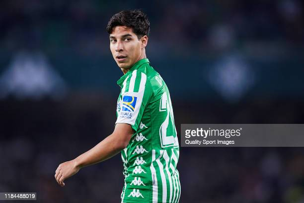 Diego Lainez of Real Betis looks on during the Liga match between Real Betis Balompie and RC Celta de Vigo at Estadio Benito Villamarin on October...