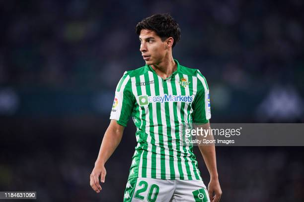 Diego Lainez of Real Betis looks on during the Liga match between Real Betis Balompie and RC Celta de Vigo at Estadio Benito Villamarin on October 30...