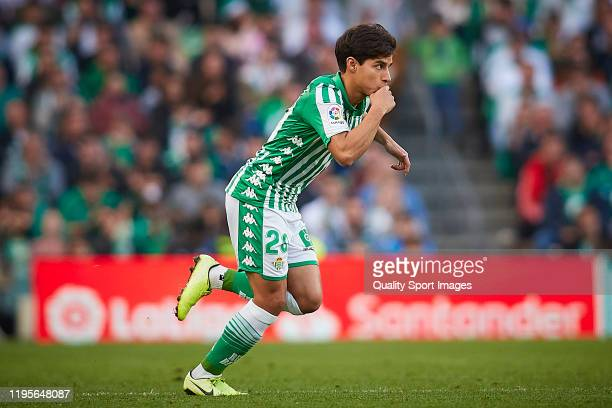 Diego Lainez of Real Betis looks on during the Liga match between Real Betis Balompie and Club Atletico de Madrid at Estadio Benito Villamarin on...