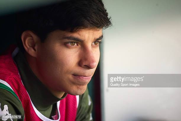 Diego Lainez of Real Betis looks on prior to the Liga match between Real Betis Balompie and Real Sociedad at Estadio Benito Villamarin on January 19,...