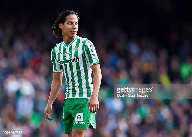 Diego Lainez of Real Betis on his debut during the La Liga match between Real Betis Balompie and Girona FC at Estadio Benito Villamarin on January 20...