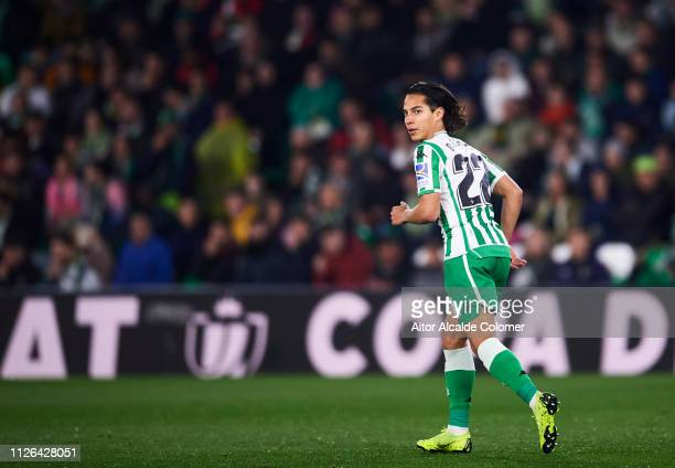 Diego Lainez of Real Betis reacts during the Copa del Quarter Final match between Real Betis Balompie and RCD Espanyol at Estadio Benito Villamarin...