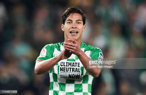 Diego Lainez of Real Betis reacts during the La Liga match between Real Betis Balompie and Valencia CF at Estadio Benito Villamarin on April 21 2019...