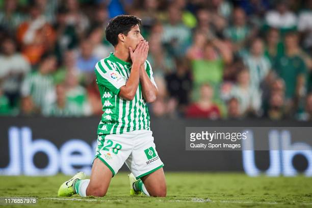 Diego Lainez of Real Betis reacts during the Liga match between Real Betis Balompie and Levante UD at Estadio Benito Villamarin on September 24 2019...