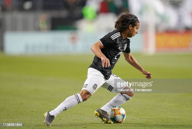 Diego Lainez of the Mexico National team controls the ball against Paraguay during the first half of their soccer game at Levi's Stadium on March 26...