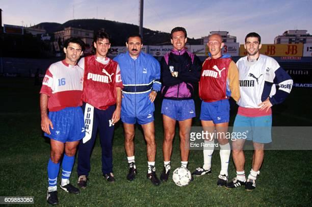 Diego Latorre, Ezequiel Castillo, Jorge Valdano head coach, Oscar Dertycia and Juan Antonio Pizzi of Tenerife during training session in Tenerife on...