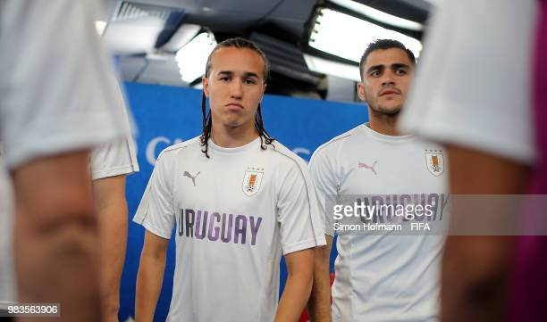 Diego Laxalt and Maximiliano Gomez of Uruguay look on in the tunnel prior to the 2018 FIFA World Cup Russia group A match between Uruguay and Russia...