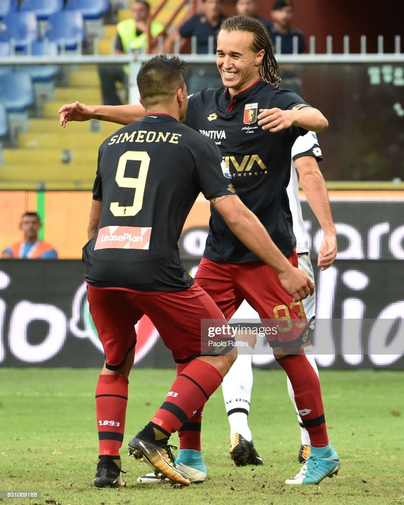 Diego Laxalt (Genoa) celebrate after score 2-1 during the TIM Cup match between Genoa CFC and AC Cesena at Stadio Luigi Ferraris on August 13, 2017 in Genoa, Italy.