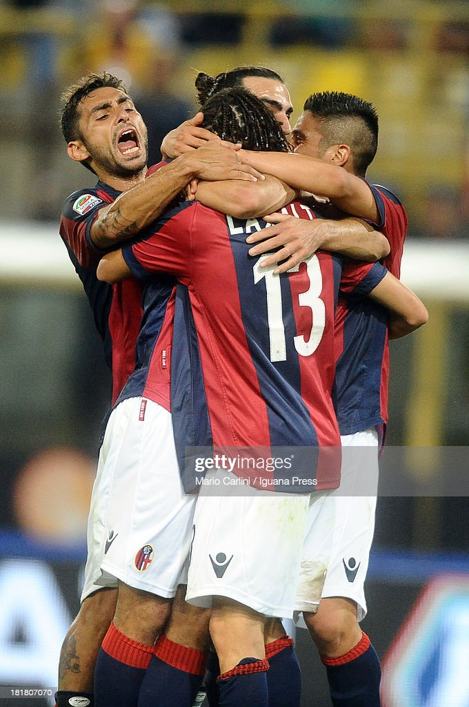 Diego Laxalt celebrates after scoring a goal during the Serie A match between Bologna and AC Milan at Stadio Renato Dall'Ara on September 25, 2013 in Bologna, Italy.