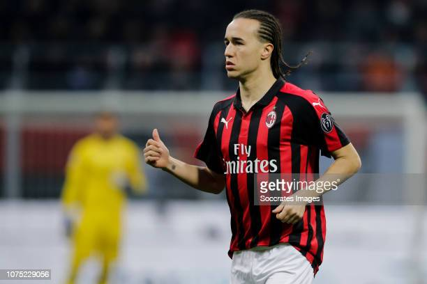 Diego Laxalt of AC Milan during the Italian Serie A match between AC Milan v Fiorentina at the San Siro on December 22 2018 in Milan Italy
