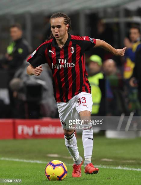 Diego Laxalt of AC Milan in action during the Serie A match between AC Milan and UC Sampdoria at Stadio Giuseppe Meazza on October 28 2018 in Milan...