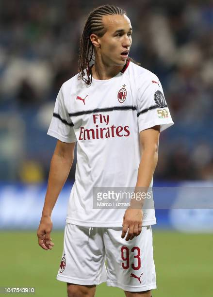 Diego Laxalt of AC Milan looks on during the Serie A match between US Sassuolo and AC Milan at Mapei Stadium Citta' del Tricolore on September 30...