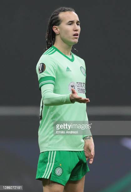 Diego Laxalt of Celtic FC gestures during the UEFA Europa League Group H stage match between AC Milan and Celtic at San Siro Stadium on December 03,...
