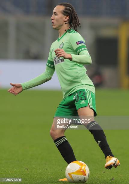 Diego Laxalt of Celtic FC in action during the UEFA Europa League Group H stage match between AC Milan and Celtic at San Siro Stadium on December 03,...