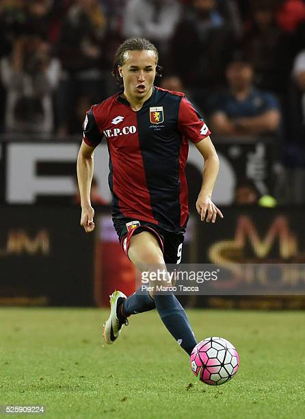 Diego Laxalt of CFC Genoa in action during the Serie A match between Genoa CFC and FC Internazionale Milano at Stadio Luigi Ferraris on April 20 2016...