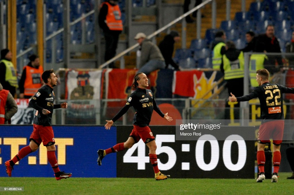 Diego Laxalt of Genoa celebrates a second goal during the Serie A match between SS Lazio and Genoa at Stadio Olimpico on February 5, 2018 in Rome, Italy.