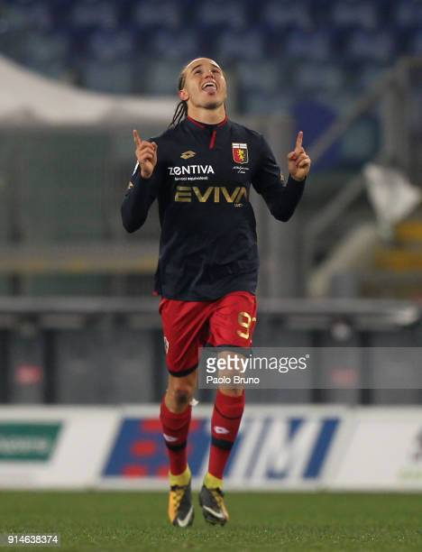 Diego Laxalt of Genoa celebrates after scoring the team's second goal during the Serie A match between SS Lazio and Genoa at Stadio Olimpico on...